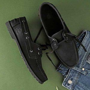 حذاء رجالي سباغو صيفي مفتو برباط جلد طبيعي - اسود