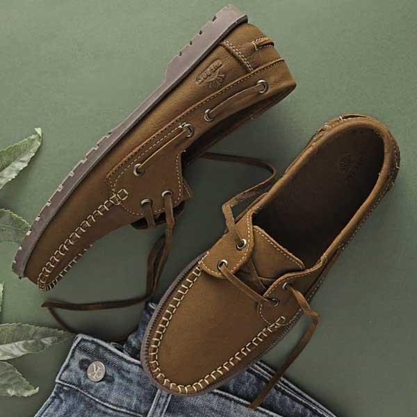 حذاء رجالي سباغو صيفي مفتو برباط جلد طبيعي - بني فاتح