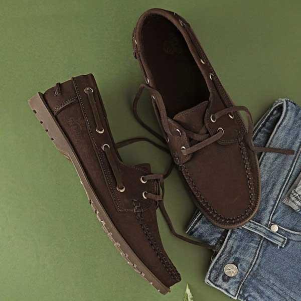 حذاء رجالي سباغو صيفي مفتو برباط جلد طبيعي - بني