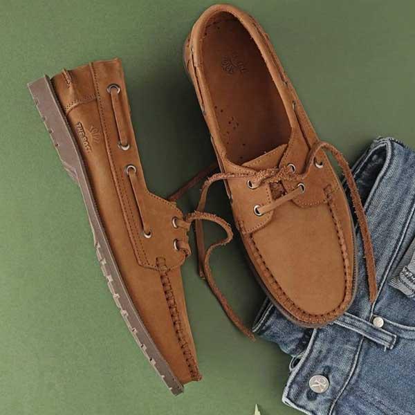 حذاء رجالي سباغو صيفي مفتو برباط جلد طبيعي - جملي