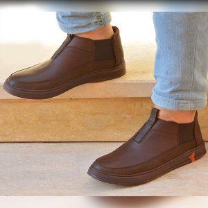 حذاء رجالي جلد طبيعي - بني